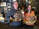 Robert & Riana with their ultrasonic cleaned Schmid & Yamaha French Horns